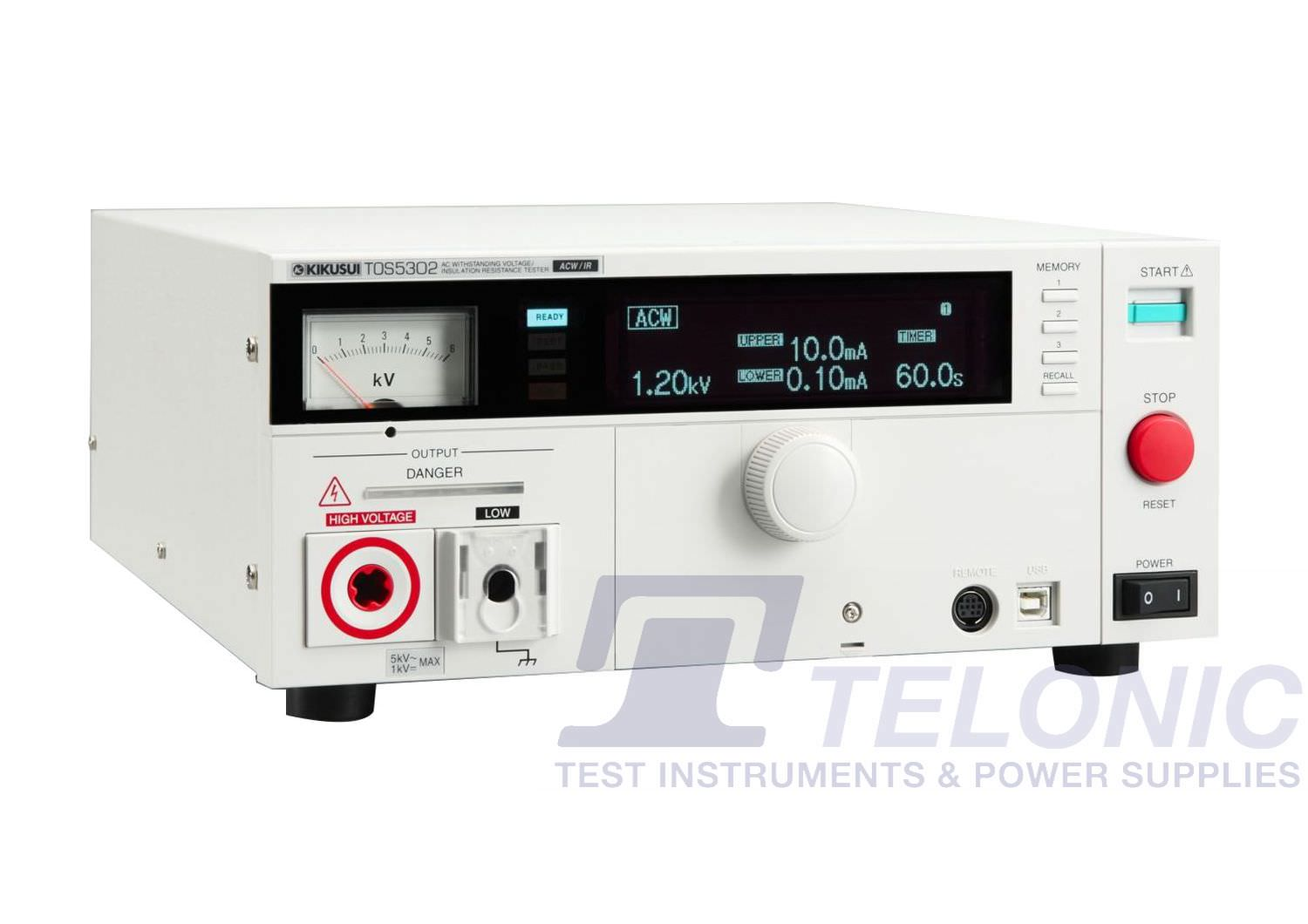 TOS5302   [5kV AC] Flash Tester (HIPOT Tester) and Insulation Resistance Tester